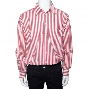 Valentino Chemises Vintage White & Pink Striped Cotton Button Front Shirt XXL - used