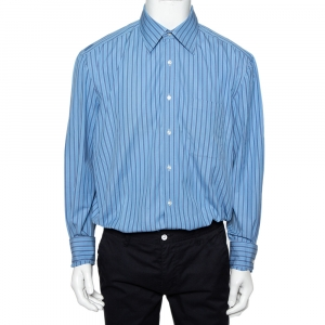Valentino Boutique Vintage Blue Striped Cotton Button Front Shirt XXL - used