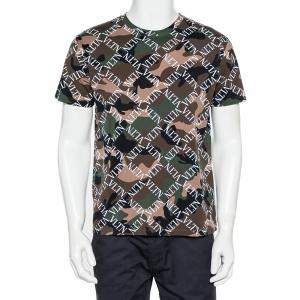 Valentino Multicolor Camouflage Logo Printed Cotton Crewneck T-Shirt S - used