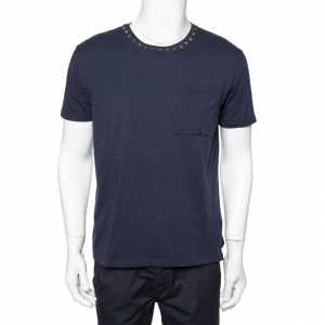 Valentino Navy Blue Cotton Rockstud Neckine Detail Crewneck T-Shirt L - used