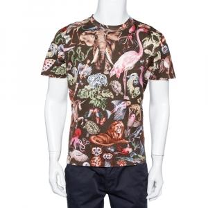 Valentino Multicolor Animal Printed Cotton Crewneck T-Shirt M - used