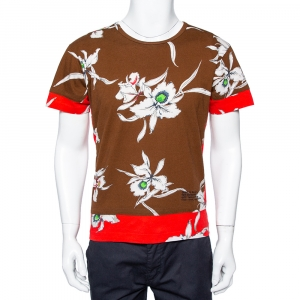 Valentino Brown & Red Paneled Orchidee Printed Cotton Crewneck T-Shirt M - used