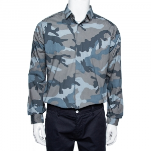 Valentino Grey Camoflauge Printed Cotton Button Front Shirt M - used