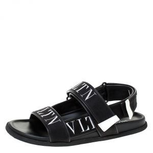 Valentino Garavani Black Fabric and Leather VLTN Band Sandals Size 41