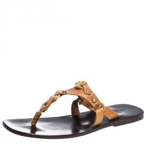Valentino Tan Leather V Logo Flat Thong Sandals Size 44