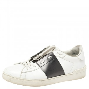 Valentino White And Black Band Leather Open Low Top Sneakers Size 43