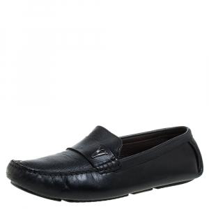 Valentino Black Perforated Leather Driving Loafers Size 41