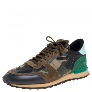 Valentino Green Camouflage Canvas And Suede Leather Rockrunner Low Top Sneakers Size 43.5