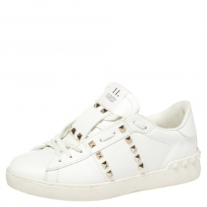 Valentino White Leather Rockstud Untitled Low-Top Sneakers Size 40.5
