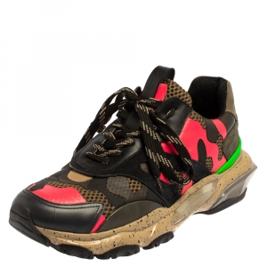 Valentino Multicolor Mesh And Leather Camouflage Bounce Low Top Sneakers Size 41