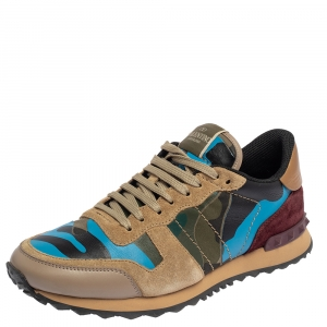 Valentino Multicolor Suede And Leather Camouflage Rockrunner Sneakers Size 40