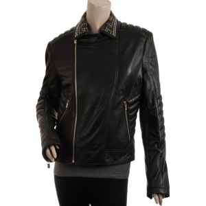 Versace for H and M Black Leather Jacket