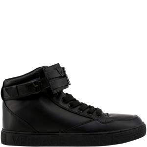 Versace Jeans Black Synthetic Faux Leather High Top Sneakers Size 44