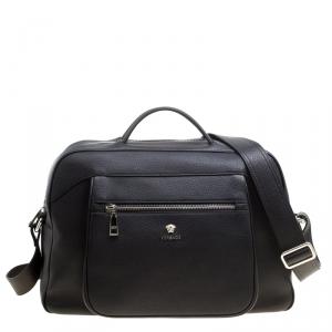 Versace Black Leather Duffle Bag
