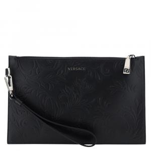 Versace Black Barocco Embossed Palazzo Leather Pouch