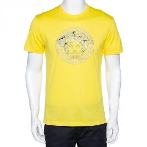 Versace Neon Yellow Cotton Jersey Embroidered Medusa Logo T-Shirt M