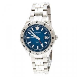 Versace Blue Stainless Steel Hellenyium GMT V11 Men's Wristwatch 42 mm