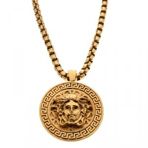 Versace Medusa Logo Medallion Gold Tone Chunky Pendant Necklace