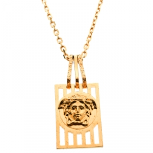 Versace Medusa Tag Gold Tone Pendant Necklace