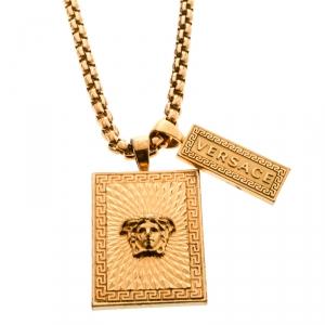Versace Medusa Textured Tag Gold Tone Pendant Necklace