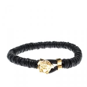 Versace Medusa Black Woven Leather Gold Tone Bracelet