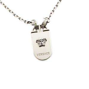 Versace Medusa Silver Tone Tag Pendant Necklace