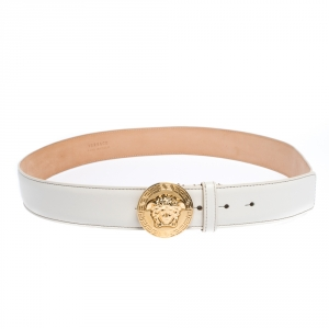 Versace White Leather Medusa Belt 105CM