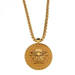 Versace Medusa Gold Tone Chain Link Medallion Pendant Necklace