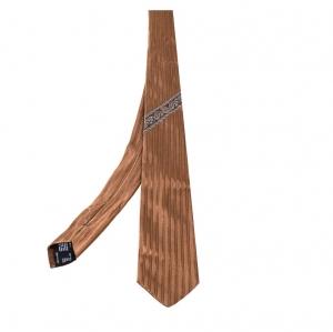 Versace Brown Medusa & Floral Motif Stripe Silk Tie