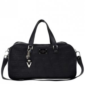 Versace Black Leather Trapuntato Duffle Travel Bag