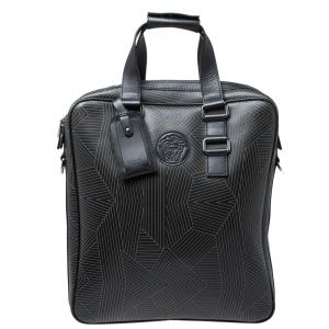 Versace Black Leather Medusa Vertical Briefcase Tote