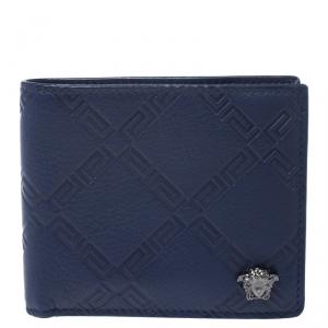 Versace Blue Greca Embossed Leather Bifold Wallet