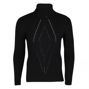 Gianni Versace Black Wool Ribbed Turtle Neck Sweater L