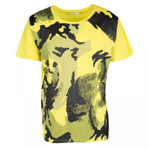 Versace Collection Yellow Camouflage Print Short Sleeve Cotton T-Shirt XXL