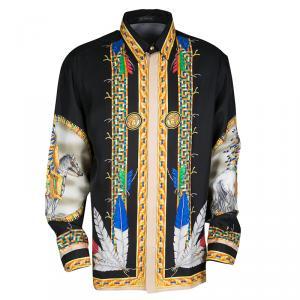 Versace Black Native American Printed Silk Long Sleeve Shirt XXL