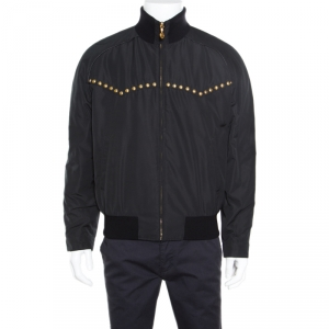 Versace Black Studded Zip Front Bomber Jacket L