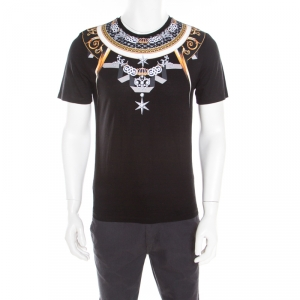 Versace Collection Black Bejeweled Baroque Printed Crew Neck T- Shirt M