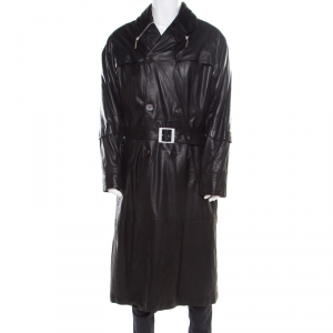 Gianni Versace Couture Black Leather Double Breasted Belted Overcoat XL