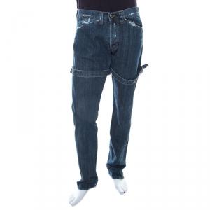 Versace Indigo Washed Denim Distressed Effect Tapered Jeans XL