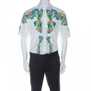 Versace White Cotton Miami Print Short Sleeve Shirt L