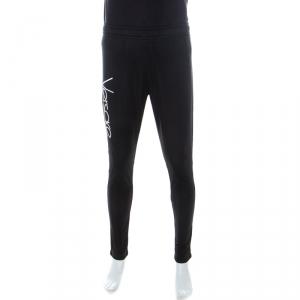 Versace Black Logo Embroidered Elasticized Waist Track Pants M