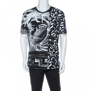 Versace Monochrome Medusa Painted Cotton T Shirt M