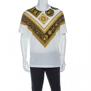 Versace White Cotton Baroque Print T-Shirt M