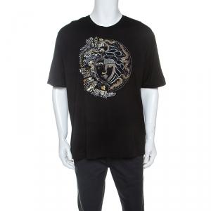 Versace Black Cotton Double Faced Medusa T-Shirt 4XL