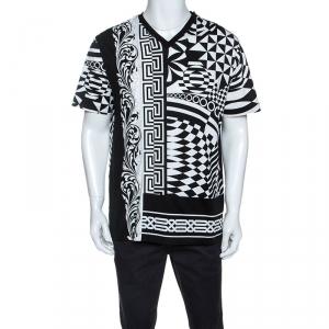 Versace Monochrome Optical Illusion Print Cotton V-Neck T-Shirt L