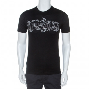 Versace Black Cotton Logo Embroidered And Embellished T-Shirt XS