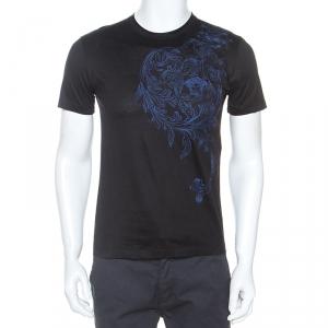 Versace Black Medusa Motif Embroidered Cotton Short Sleeve T-Shirt S