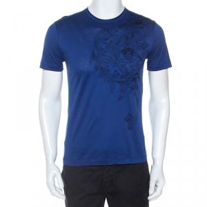 Versace Blue Medusa Motif Embroidered Cotton Short Sleeve T-Shirt S