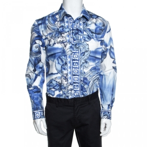 Versace Collection Blue Printed Cotton Button Front Trend Shirt L