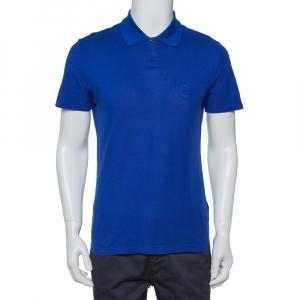 Versace Royal Blue Cotton Pique Button Front T-Shirt XS - used